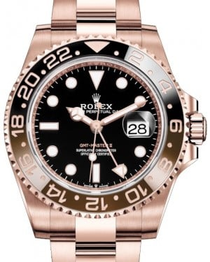 Rolex GMT-Master II Rose Gold Black Dial & Brown/Black Ceramic Bezel Oyster Bracelet 126715CHNR - BRAND NEW