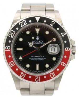 "Rolex GMT-Master II Stainless Steel 40mm ""Coke"" Black/Red Aluminum Bezel Holes Case SEL Oyster Bracelet 16710 - PRE-OWNED 2000-03"