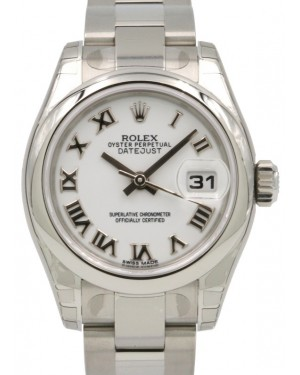 Rolex Lady-Datejust 26 179160-WHTRDO White Roman Stainless Steel Oyster - BRAND NEW