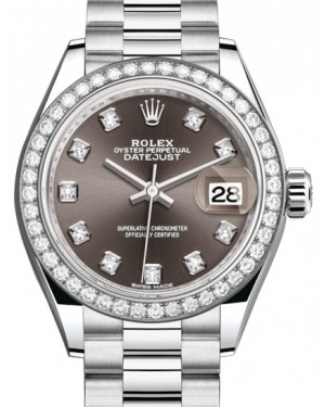 Rolex Lady Datejust 28 Platinum Dark Grey Diamond Dial & Smooth Domed Bezel President Bracelet 279136RBR - BRAND NEW