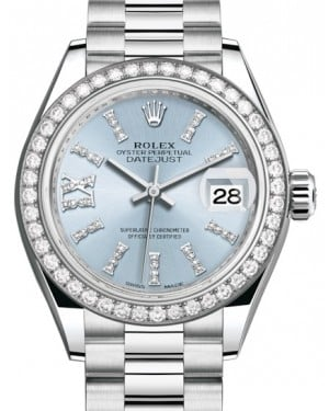 Rolex Lady Datejust 28 Platinum Ice Blue Diamond Index/Roman IX Dial & Smooth Domed Bezel President Bracelet 279136RBR - BRAND NEW