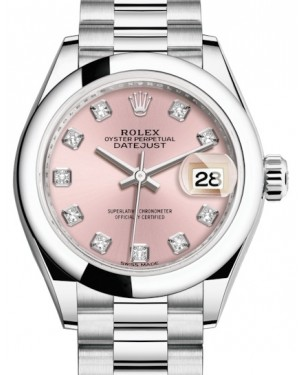 Rolex Lady Datejust 28 Platinum Pink Diamond Dial & Smooth Domed Bezel President Bracelet 279166 - BRAND NEW
