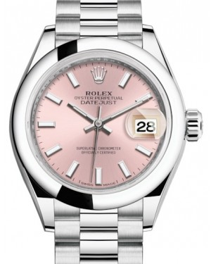 Rolex Lady Datejust 28 Platinum Pink Index Dial & Smooth Domed Bezel President Bracelet 279166 - BRAND NEW