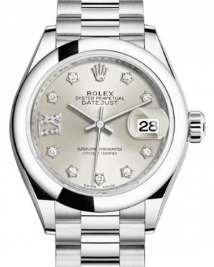 Rolex Lady Datejust 28 Platinum Silver Diamond IX Dial & Smooth Domed Bezel President Bracelet 279166 - BRAND NEW