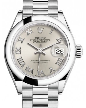 Rolex Lady Datejust 28 Platinum Silver Roman Dial & Smooth Domed Bezel President Bracelet 279166 - BRAND NEW