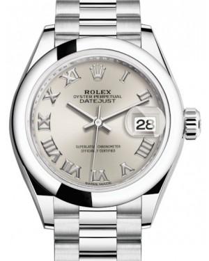 Rolex Lady Datejust 28 Platinum Silver Roman Dial & Smooth Domed Bezel President Bracelet 279166 - BRAND NEW