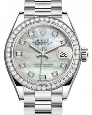 Rolex Lady Datejust 28 Platinum White Mother of Pearl Diamond Dial & Smooth Domed Bezel President Bracelet 279136RBR - BRAND NEW