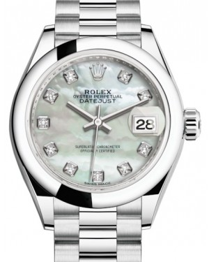 Rolex Lady Datejust 28 Platinum White Mother of Pearl Diamond Dial & Smooth Domed Bezel President Bracelet 279166 - BRAND NEW