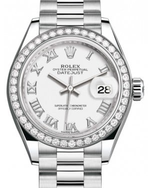 Rolex Lady Datejust 28 Platinum White Roman Dial & Smooth Domed Bezel President Bracelet 279136RBR - BRAND NEW