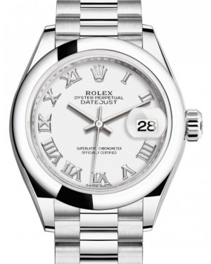 Rolex Lady Datejust 28 Platinum White Roman Dial & Smooth Domed Bezel President Bracelet 279166 - BRAND NEW