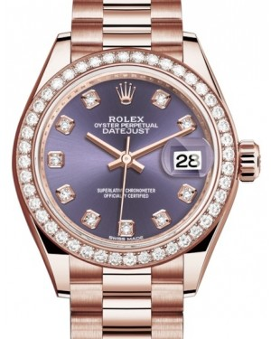 Rolex Lady Datejust 28 Rose Gold Aubergine Diamond Dial & Diamond Bezel President Bracelet 279135RBR - BRAND NEW