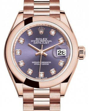 Rolex Lady Datejust 28 Rose Gold Aubergine Diamond Dial & Smooth Domed Bezel President Bracelet 279165 - BRAND NEW
