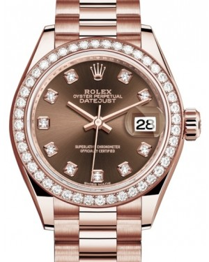 Rolex Lady Datejust 28 Rose Gold Chocolate Diamond Dial & Diamond Bezel President Bracelet 279135RBR - BRAND NEW