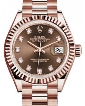 Rolex Lady Datejust 28 Rose Gold Chocolate Diamond Dial & Fluted Bezel President Bracelet 279175 - BRAND NEW