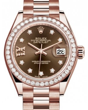 Rolex Lady Datejust 28 Rose Gold Chocolate Diamond IX Dial & Diamond Bezel President Bracelet 279135RBR - BRAND NEW