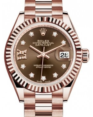 Rolex Lady Datejust 28 Rose Gold Chocolate Diamond IX Dial & Fluted Bezel President Bracelet 279175 - BRAND NEW