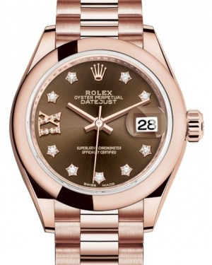Rolex Lady Datejust 28 Rose Gold Chocolate Diamond IX Dial & Smooth Domed Bezel President Bracelet 279165 - BRAND NEW