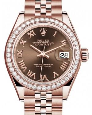 Rolex Lady Datejust 28 Rose Gold Chocolate Roman Dial & Diamond Bezel Jubilee Bracelet 279135RBR - BRAND NEW