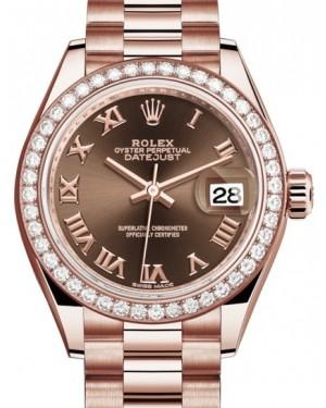 Rolex Lady Datejust 28 Rose Gold Chocolate Roman Dial & Diamond Bezel President Bracelet 279135RBR - BRAND NEW