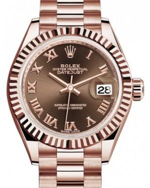 Rolex Lady Datejust 28 Rose Gold Chocolate Roman Dial & Fluted Bezel President Bracelet 279175 - BRAND NEW