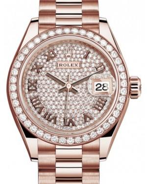 Rolex Lady Datejust 28 Rose Gold Diamond Paved Roman Dial & Diamond Bezel President Bracelet 279135RBR - BRAND NEW
