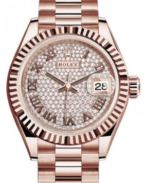 Rolex Lady Datejust 28 Rose Gold Diamond Paved Roman Dial & Fluted Bezel President Bracelet 279175 - BRAND NEW