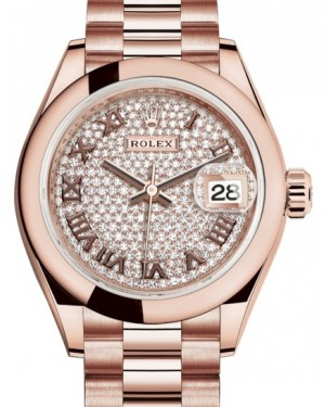 Rolex Lady Datejust 28 Rose Gold Diamond Paved Roman Dial & Smooth Domed Bezel President Bracelet 279165 - BRAND NEW