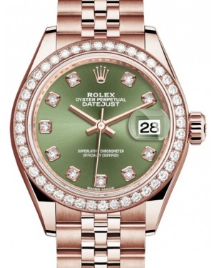 Rolex Lady Datejust 28 Rose Gold Olive Green Diamond Dial & Diamond Bezel Jubilee Bracelet 279135RBR - BRAND NEW