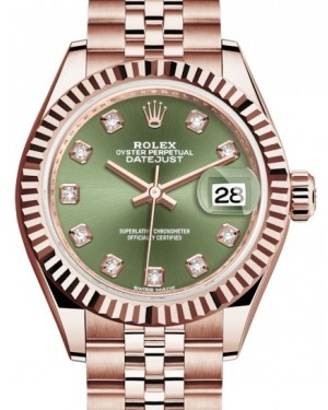 Rolex Lady Datejust 28 Rose Gold Olive Green Diamond Dial & Fluted Bezel Jubilee Bracelet 279175 - BRAND NEW