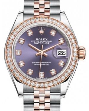 Rolex Lady Datejust 28 Rose Gold/Steel Aubergine Diamond Dial & Diamond Bezel Jubilee Bracelet 279381RBR - BRAND NEW