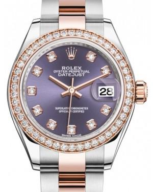 Rolex Lady Datejust 28 Rose Gold/Steel Aubergine Diamond Dial & Diamond Bezel Oyster Bracelet 279381RBR - BRAND NEW