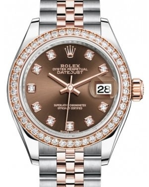 Rolex Lady Datejust 28 Rose Gold/Steel Chocolate Diamond Dial & Diamond Bezel Jubilee Bracelet 279381RBR - BRAND NEW