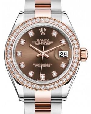 Rolex Lady Datejust 28 Rose Gold/Steel Chocolate Diamond Dial & Diamond Bezel Oyster Bracelet 279381RBR - BRAND NEW