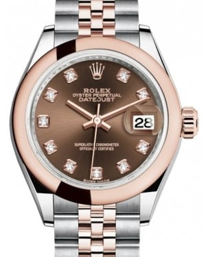 Rolex Lady Datejust 28 Rose Gold/Steel Chocolate Diamond Dial & Smooth Domed Bezel Jubilee Bracelet 279161 - BRAND NEW