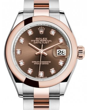 Rolex Lady Datejust 28 Rose Gold/Steel Chocolate Diamond Dial & Smooth Domed Bezel Oyster Bracelet 279161 - BRAND NEW