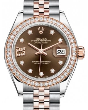Rolex Lady Datejust 28 Rose Gold/Steel Chocolate Diamond IX Dial & Diamond Bezel Jubilee Bracelet 279381RBR - BRAND NEW