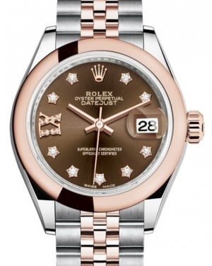 Rolex Lady Datejust 28 Rose Gold/Steel Chocolate Diamond IX Dial & Smooth Domed Bezel Jubilee Bracelet 279161 - BRAND NEW
