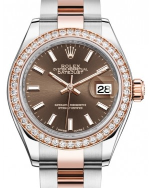 Rolex Lady Datejust 28 Rose Gold/Steel Chocolate Index Dial & Diamond Bezel Oyster Bracelet 279381RBR - BRAND NEW