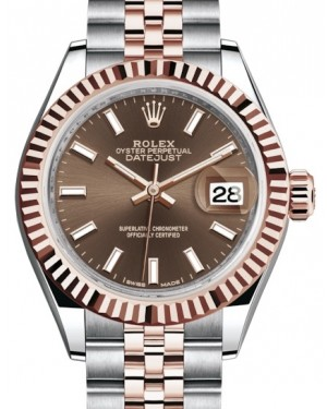 Rolex Lady Datejust 28 Rose Gold/Steel Chocolate Index Dial & Fluted Bezel Jubilee Bracelet 279171 - BRAND NEW