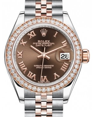 Rolex Lady Datejust 28 Rose Gold/Steel Chocolate Roman Dial & Diamond Bezel Jubilee Bracelet 279381RBR - BRAND NEW