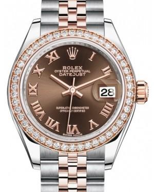 Rolex Lady Datejust 28 Rose Gold/Steel Chocolate Roman Dial & Diamond Bezel Jubilee Bracelet 279381RBR - BRAND NEW