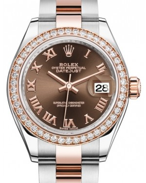 Rolex Lady Datejust 28 Rose Gold/Steel Chocolate Roman Dial & Diamond Bezel Oyster Bracelet 279381RBR - BRAND NEW