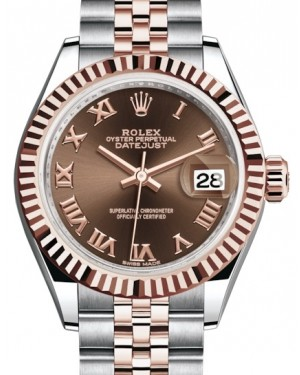 Rolex Lady Datejust 28 Rose Gold/Steel Chocolate Roman Dial & Fluted Bezel Jubilee Bracelet 279171 - BRAND NEW