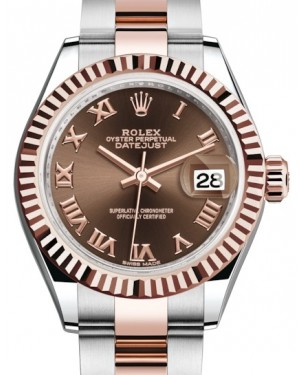 Rolex Lady Datejust 28 Rose Gold/Steel Chocolate Roman Dial & Fluted Bezel Oyster Bracelet 279171 - BRAND NEW