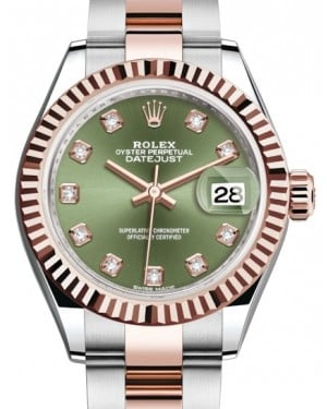 Rolex Lady Datejust 28 Rose Gold/Steel Olive Green Diamond Dial & Fluted Bezel Oyster Bracelet 279171 - BRAND NEW