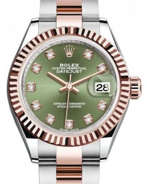 Rolex Lady Datejust 28 Rose Gold/Steel Olive Green Diamond Dial & Fluted Bezel Oyster Bracelet 279171 - BRAND NEW