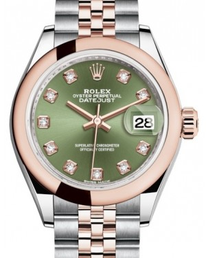Rolex Lady Datejust 28 Rose Gold/Steel Olive Green Diamond Dial & Smooth Domed Bezel Jubilee Bracelet 279161 - BRAND NEW