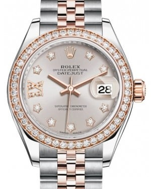 Rolex Lady Datejust 28 Rose Gold/Steel Sundust Diamond IX Dial & Diamond Bezel Jubilee Bracelet 279381RBR - BRAND NEW