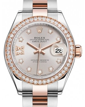 Rolex Lady Datejust 28 Rose Gold/Steel Sundust Diamond IX Dial & Diamond Bezel Oyster Bracelet 279381RBR - BRAND NEW