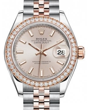 Rolex Lady Datejust 28 Rose Gold/Steel Sundust Index Dial & Diamond Bezel Jubilee Bracelet 279381RBR - BRAND NEW